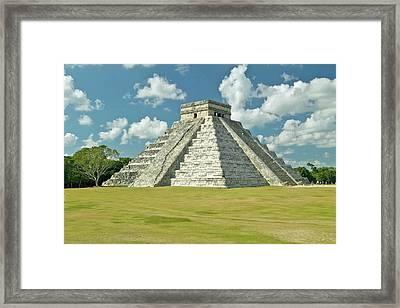 White Puffy Clouds Over The Mayan Pyramid Of Kukulkan (also Known As El Castillo) And Ruins At Chichen Itza, Yucatan Peninsula, Mexico Framed Print by VisionsofAmerica/Joe Sohm