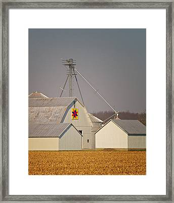 White Quilt Barn Framed Print