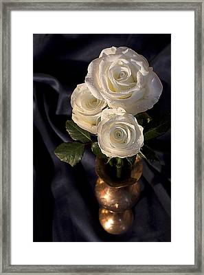 White Roses Framed Print by Shirley Mitchell