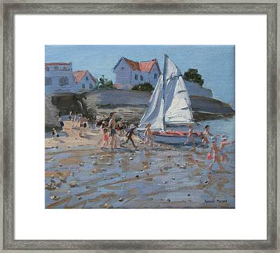 White Sailboat Framed Print by Andrew Macara