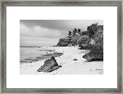 White Sand Beach Moal Boel Philippines Bw Framed Print