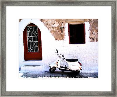 White Scooter Dreams Horizontal Framed Print by Anthony Novembre