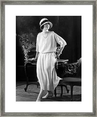 White Silk Knit Dress For Early Morning Framed Print