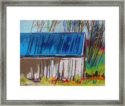 White Slatted Barn Framed Print by John Williams