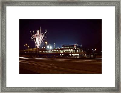 White Sox Homer Fireworks Framed Print by Sven Brogren