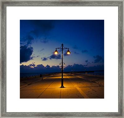White Street Pier Lights Framed Print