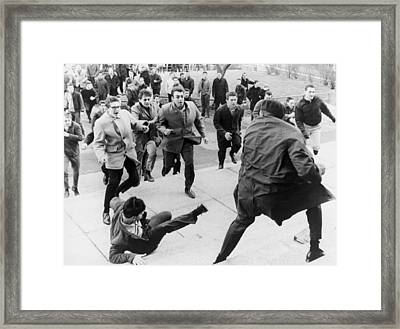 White Students Running Toward An Framed Print by Everett