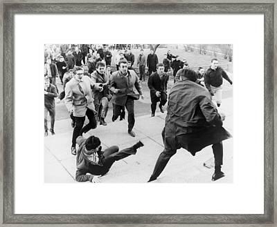 White Students Running Toward An Framed Print by Everett