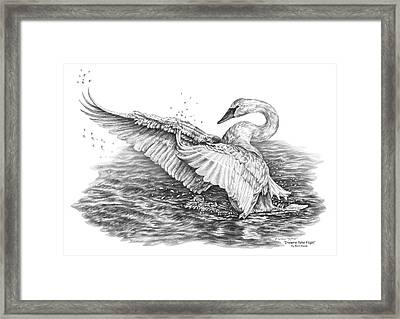 Framed Print featuring the drawing White Swan - Dreams Take Flight by Kelli Swan