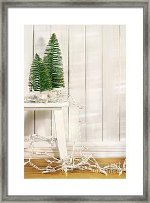 White Tree Lights  Framed Print by Sandra Cunningham