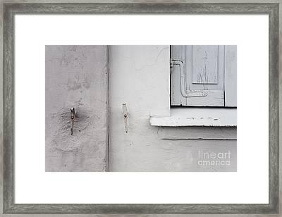 White Wall Gray Shutters Framed Print