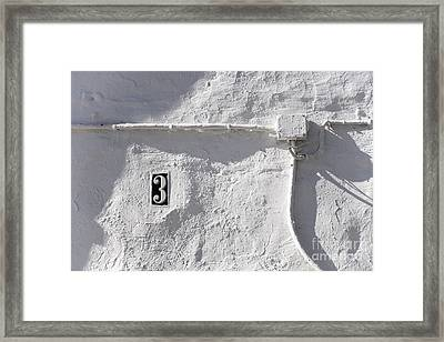 Framed Print featuring the photograph White Wall With Number 3 Plate by Agnieszka Kubica