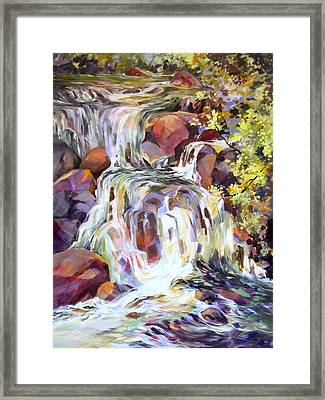 Framed Print featuring the painting White Water Tumble by Rae Andrews