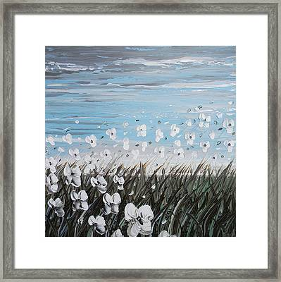 White Wildflower Breeze Framed Print by Christine Krainock