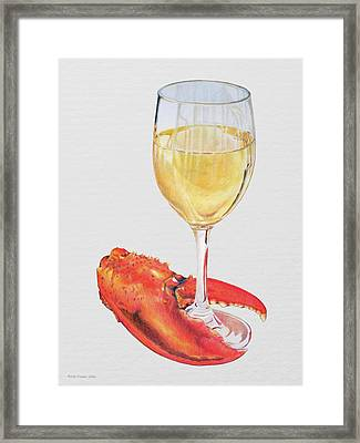 White Wine And Lobster Claw Framed Print