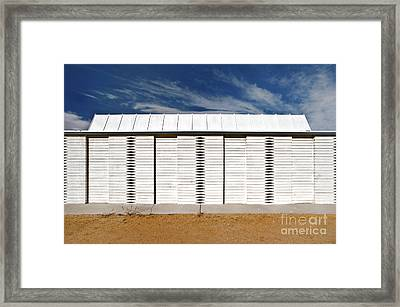 White Wooden Fence And Roof Framed Print