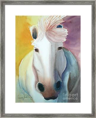 White Work Horse Framed Print