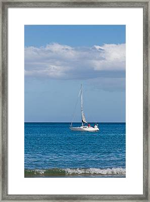 White Yacht Sails In The Sea Along The Coast Line Framed Print by Ulrich Schade