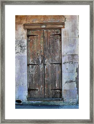 Framed Print featuring the photograph Who Dat Door by Jeanne  Woods