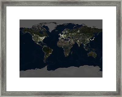 Whole Earth At Night, Satellite Image Framed Print by Planetobserver