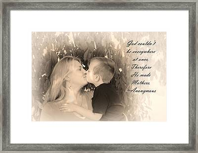Framed Print featuring the photograph Why He Made Mothers by Kelly Hazel
