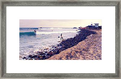 Why We Surf Framed Print by Ron Regalado