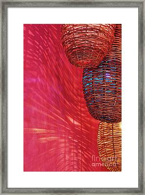 Wicker Light Shades And Pink Wall Framed Print by Jeremy Woodhouse