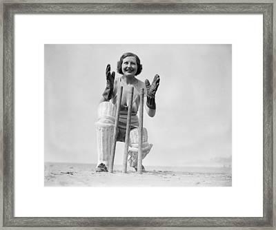Wicketkeeping Framed Print by Fox Photos