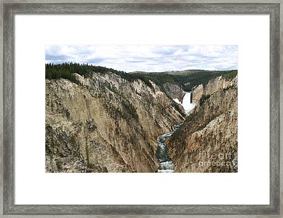 Framed Print featuring the photograph Wide View Of The Lower Falls In Yellowstone by Living Color Photography Lorraine Lynch