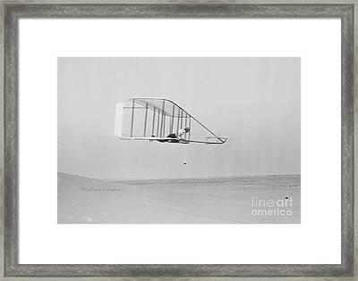 Wilbur Wright In Level Glide Framed Print by Padre Art