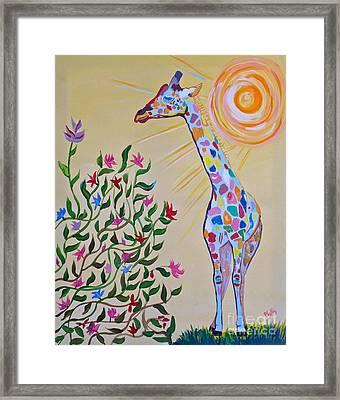 Wild And Crazy Giraffe Framed Print