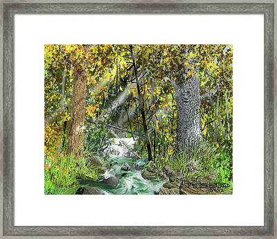 Framed Print featuring the drawing Wild Creek - October by Jim Hubbard