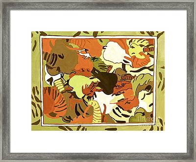 Framed Print featuring the digital art Wild Elephants Brown by Beth Saffer