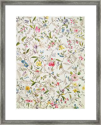 Wild Flowers Design For Silk Material Framed Print by William Kilburn