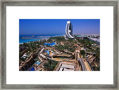 Wild Wadi Waterpark Spreads Around The Foot Of The Jumeira Beach Hotel Framed Print