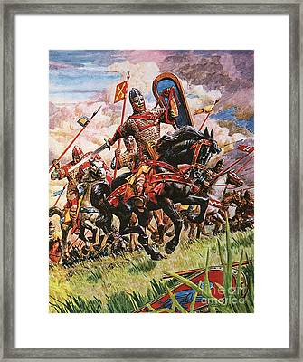 William The Conqueror At The Battle Of Hastings Framed Print
