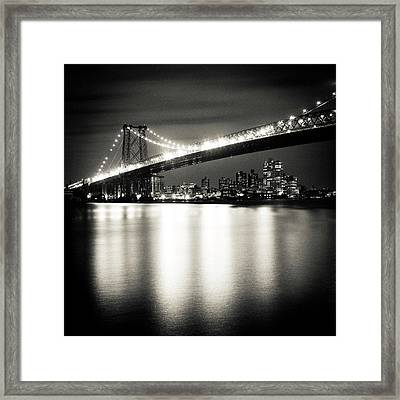 Williamsburg Bridge At Night Framed Print by Adam Garelick