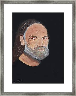 Willie Nelson In Black Framed Print