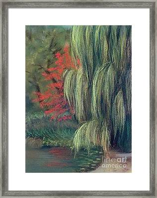 Framed Print featuring the drawing Willow Tree - Hidden Lake Gardens -tipton Michigan by Yoshiko Mishina