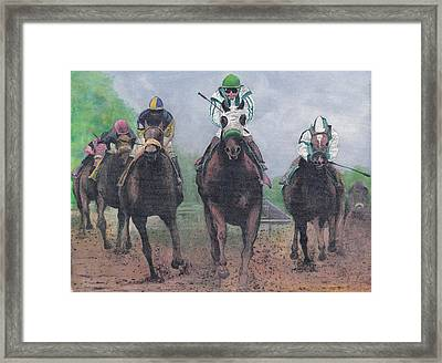 Win Place And Show Framed Print by Stuart B Yaeger