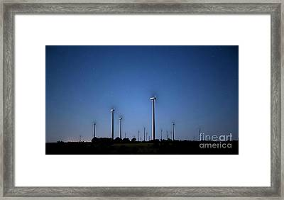 Wind Farm At Night Framed Print by Keith Kapple