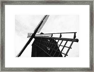 Wind Mill Architecture Black And White Framed Print by Falko Follert
