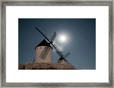 Wind Mills In Light Of Moon Framed Print by Noviembre Anita Vela