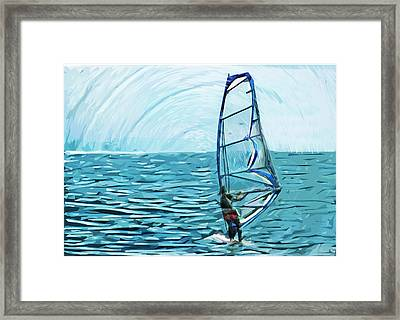 Wind Surfer Framed Print by Tilly Williams