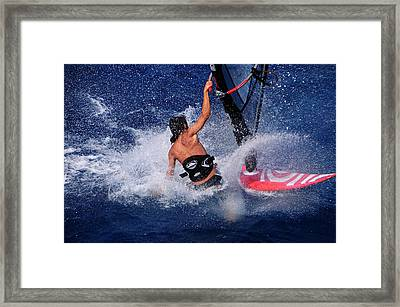 Wind Surfing Framed Print by Manolis Tsantakis