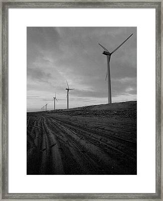 Wind Turbine Plant On Beach Framed Print by KUJIRAI kentaro