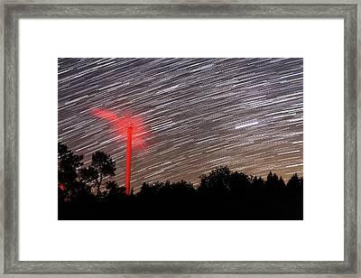 Wind Turbine Under Star Trails Framed Print by Laurent Laveder