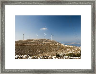 Wind Turbines On A Hill, Rhodes, Greece Framed Print