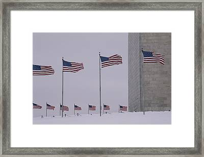 Wind Whips The Flags Framed Print