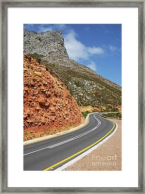 Winding Costal Road Between Gordon's Bay And Betty's Bay Framed Print by Sami Sarkis